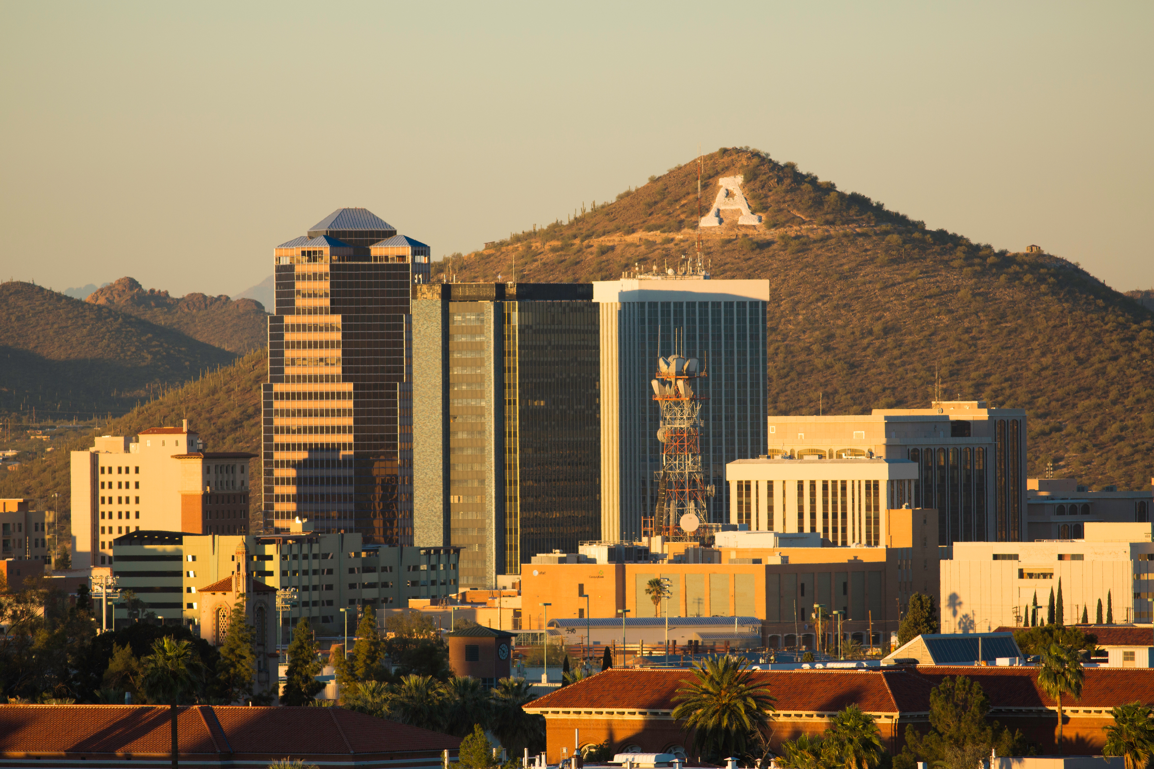 The Tucson skyline with Sentinel Peak in the background.