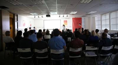 John Jackson delivers the pitch for BDiAB to a full house at TechCode. Photo credit: Paul Tumarkin/Tech Launch Arizona