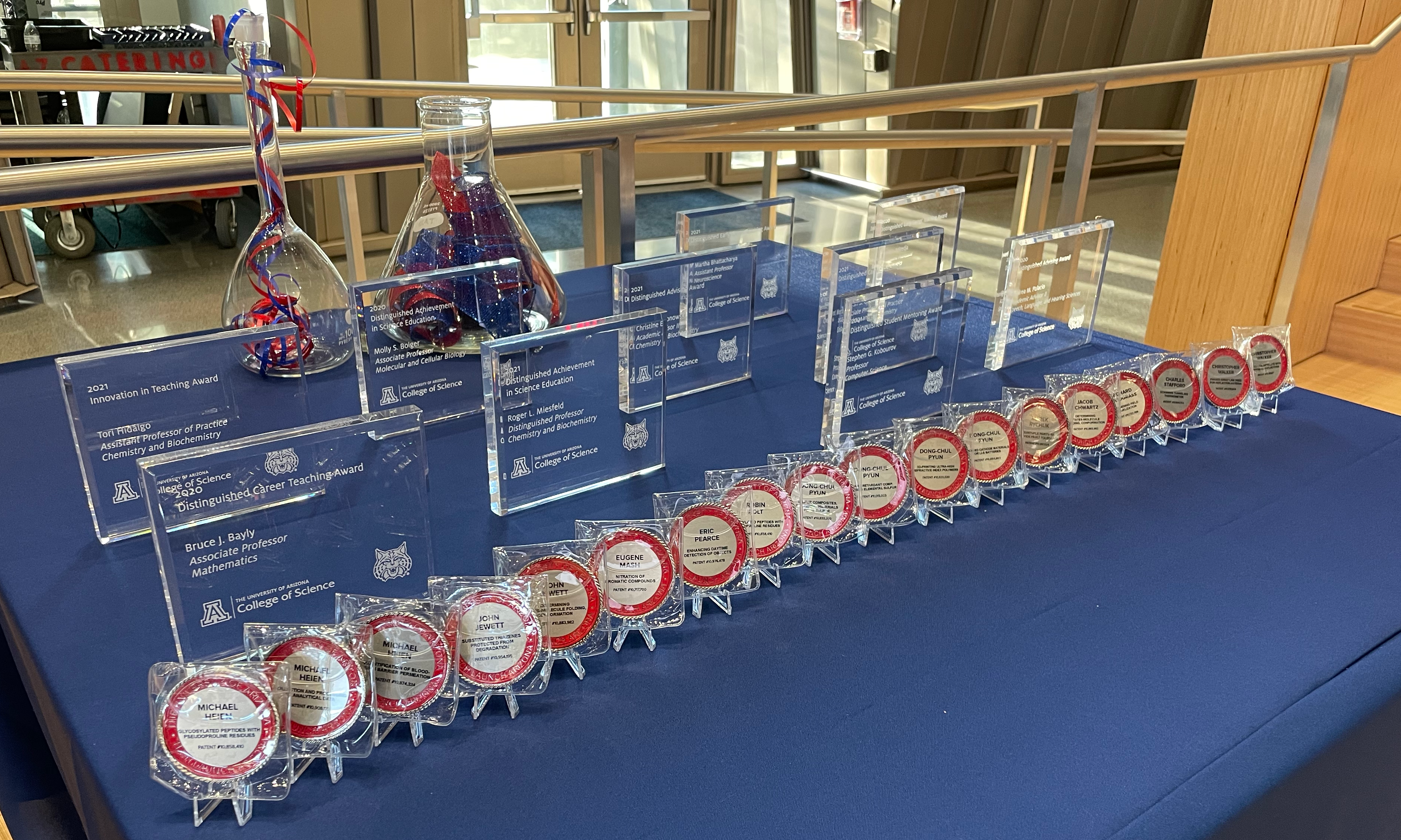 Patent coins presented to College of Science inventors on September 30, 2021.