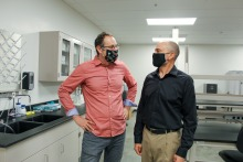 Eric Lyons and Scott Zentack in their new lab space.