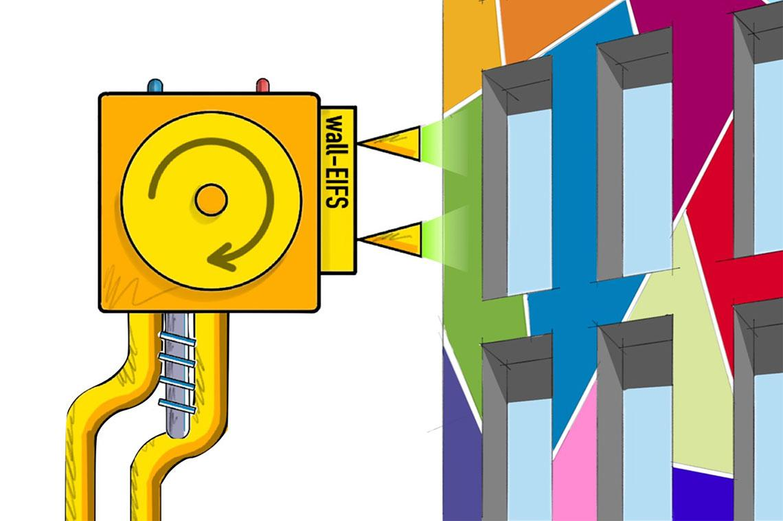 wall-EIFS, a robotically applied, 3D-sprayable exterior insulation and finish system for building envelope retrofits. Graphic courtesy Jonathan Bean and Wolfgang Fink.